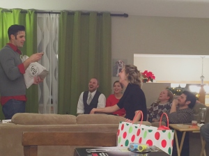 Friend's opening a funny gift